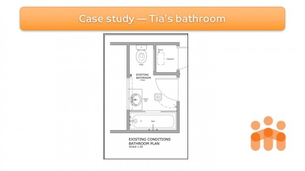 Figure 3: Site documentation of Tia's bathroom pre-modification floorplan.