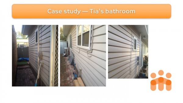 Slide 4: Tia's home modification - Site assessment or photos of re-modification access