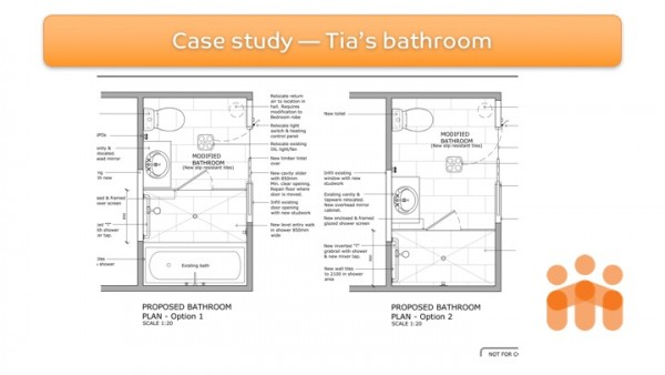 Figure 6: Design options discussed with the client for the bathroom modification