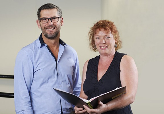 Project manager David Brown with Pamela Reeves , occupational therapist.