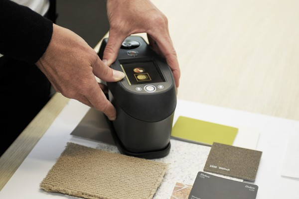 Architecture & Access luminance contrast testing spectrophotometer used to test marerials on a colour board