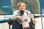 Stella Young commentates at the 2012 Paralympics.